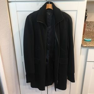 Theory black long winter Paxton coat L